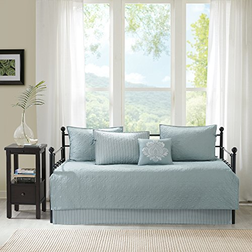 Country Set Daybed - 6 Piece Seafoam Floral Daybed Cover Set, Geometric Beach Lake House French Country Shabby Chic Motif Flower Cottage Pattern Bedding Day Bed Lounge Ottoman Resting Bedroom Bedskirt Pillows, Polyester