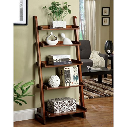 Furniture of America Carley 5 Shelf Bookcase in Vintage Oak