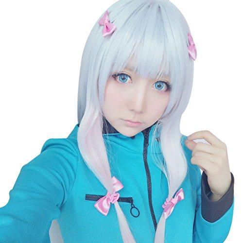ROLECOS Sagiri Izumi Cosplay Wigs Long Straight Synthetic Party Wig Grey Fade Pink (Sensei Halloween Costume)