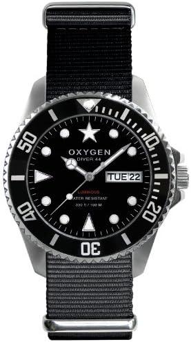 Oxygen EX-D-MOB-44-BL - Reloj analógico de Cuarzo Unisex, Correa de Nailon Color Negro (Agujas luminiscentes)