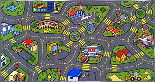 Jungtier KCP010032-2x5 Fun Time Retro City Traffic Car Road Map Educational Learning & Game Area Rug Carpet for Kids and Children Bedrooms and Playroom, 2' 7