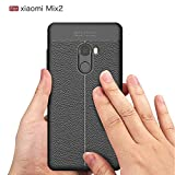 Ziaon Rugged Armor Resilient Shock Absorption Leather and Carbon Fiber Design Protective Case for Xiaomi Mi Mix 2 - Black