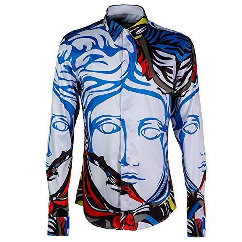 noir  Wangyi Chemise Chemises habillées imprimées à Manches Longues pour Hommes