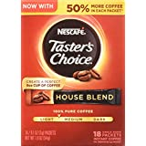 Nescafe Taster's Choice Instant Coffee, House Blend, 18 Count (Pack of 8)