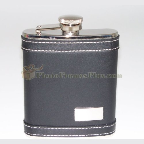 6 oz Leather Engravable Flask with Stitching