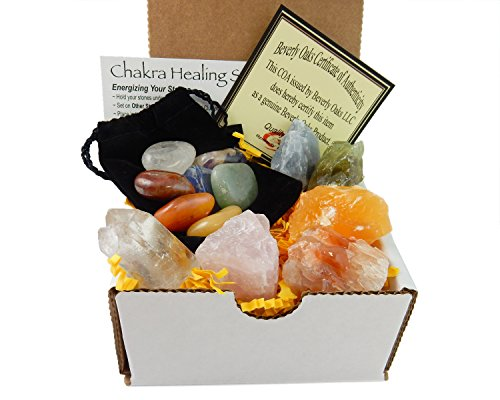 Beverly Oaks Chakra Mineral Starter Set/Crystal Healing Kit ~ 6 Colorful Mineral Stones Plus 7 Chakra Tumbled Gemstones, Spiritual Metaphysical, Reiki, Chakra, Healing, Bohemian, Natural