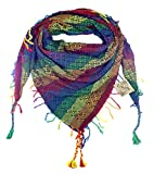 100% Cotton Enkidu Design in Jewel Tones Shemagh Keffiyeh Scarf Wrap for Women and Men 43''x43'' by Tahrir Scarf