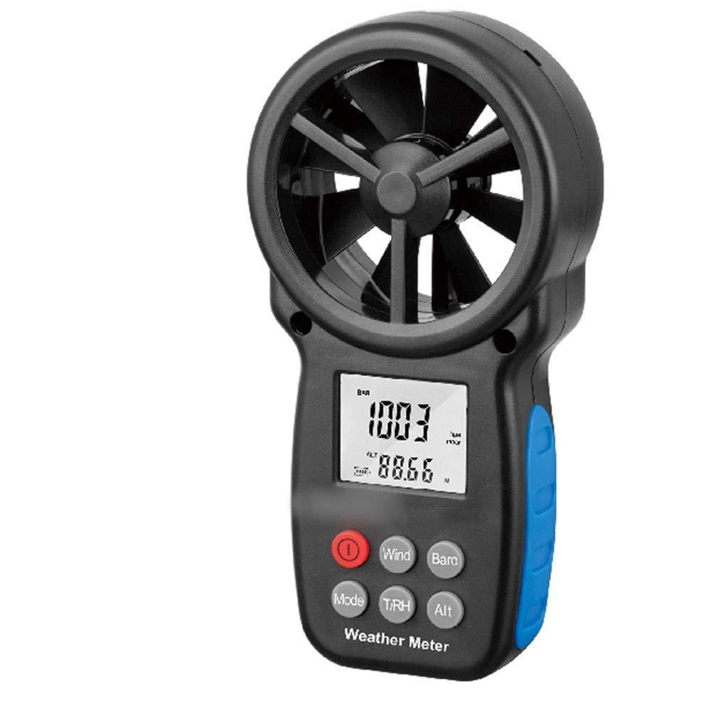 Sugoishop Anemometer Multi-Function Digital Wind Speed Tester Dew Point Altitude Temperature Test (Color : Black)