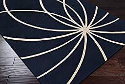 Surya Rug FM7186-312 Contemporary Hand Tufted, Rectangle Rug, Dark Blue and Antique White 3 x 12 ft.