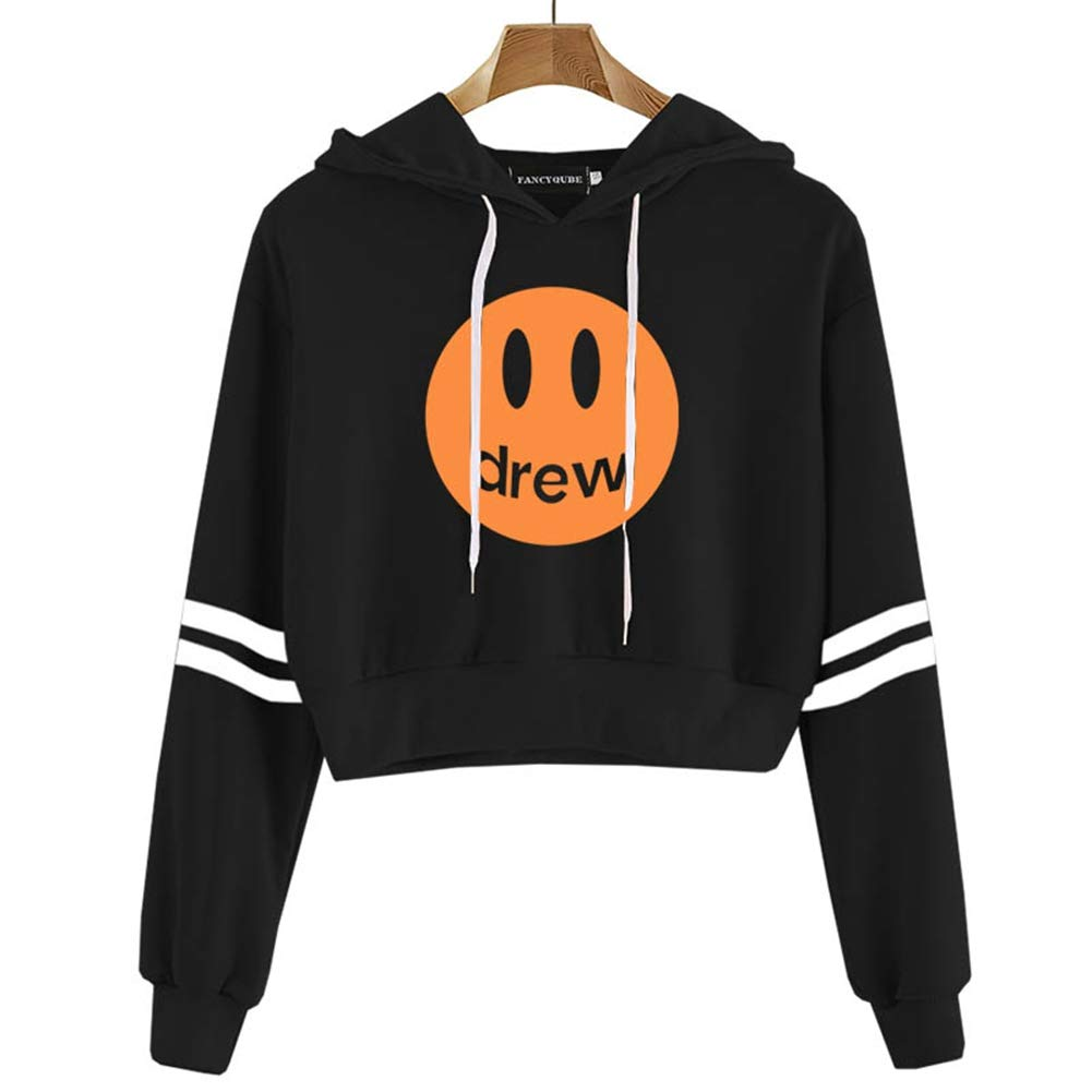 Fushimuma Women S Justin Bieber Crop Top Hoodies Fans Gift Costumes Striped Sleeve Sweatshirt L Black 02 Amazon In Clothing Accessories