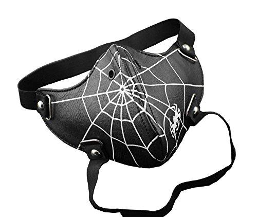 [Spider Web Steampunk Biker Men Leather Half Face Mask Masquerade Black] (Adult Studded Spider Mask)