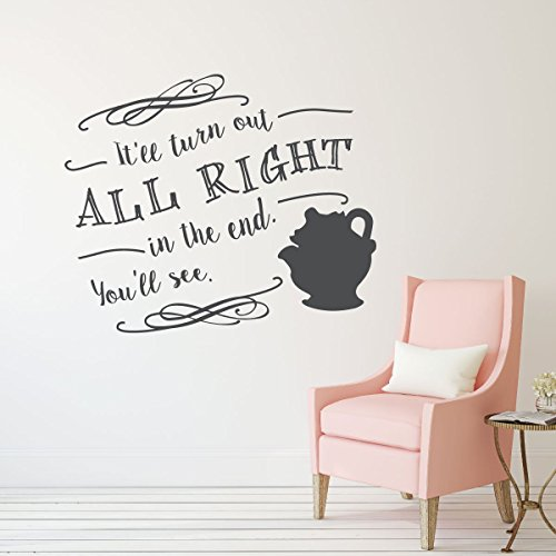 Mrs. Potts Decal - Beauty and the Beast Wall Decoration - It'll Turn Out All Right In The End - Disney Fan Decor ()