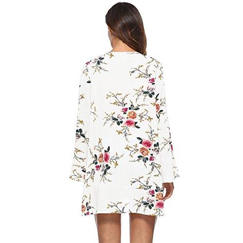 Jancure Women's Floral Print Chiffon Blouse Irregular Wrap Cardigans Casual Coverup Tops by Jancure (Image #2)