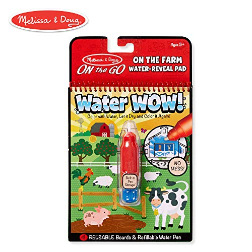 Melissa & Doug On The Go Water Wow! On The Farm Reusable Water-Reveal Activity Pad, Chunky-Size Water Pen]()