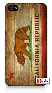 Distressed California State Flag w/Wood Grain Background Image iPhone 5 Quality Hard Snap On Case for iPhone 5/5S - AT&T Sprint Verizon - Black Frame