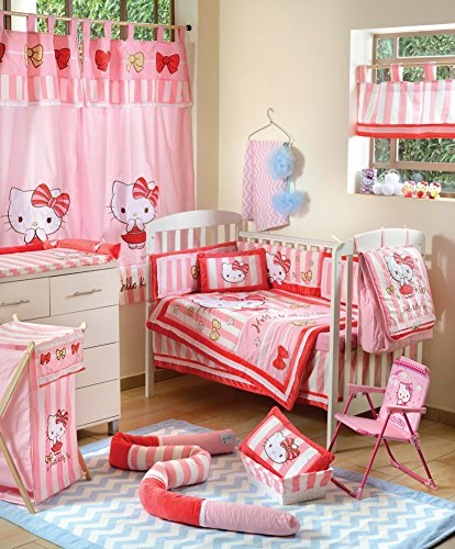 Hello Kitty Crib Bedding Set (Hello Kitty Striped Crib Bedding Accessory - Diaper Bag / Nappy Bag)