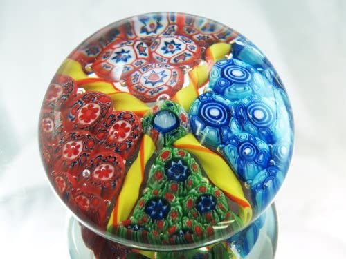 Tripact Inc M Design Art Handcraft Rainbow Mix Beautiful Millefiori Art Glass Paperweight