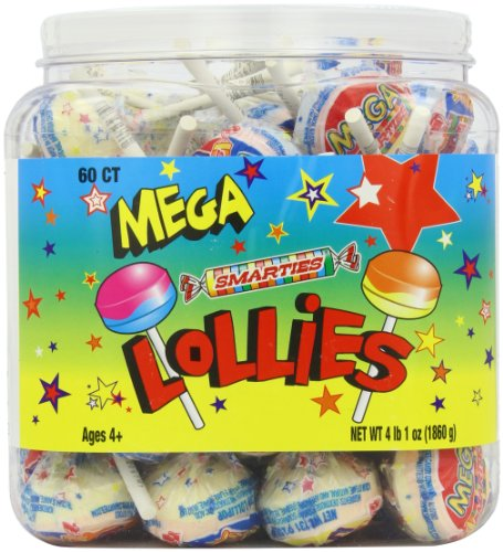 Mega Smarties Lollies, Mega, 60 Count  4 lbs 1 oz. -
