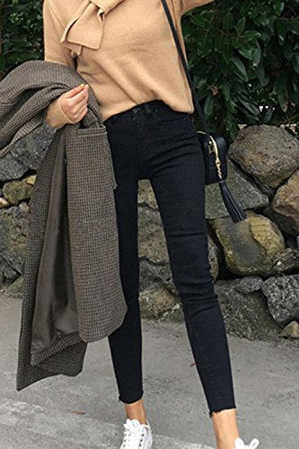 Jeans Plus De Tobillo yulinge Largos Size Las Cintura Alta Black Mujeres Denim Pantalones qqxzwEv4