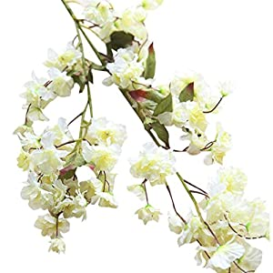 Amiley 1 piece Artificial Fake Cherry Blossom Silk Flower Bridal Hydrangea Home Garden Decor (A) 2