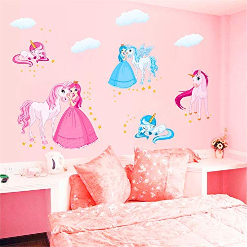 RTLJN Home Decoration Wall Stickers Cartoon Girl Wall Sticker Stickers Warm Soft Sister Bedroom Decorations Layout Princess Children Room Wall Stickers -