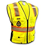 KwikSafety BIG KAHUNA Safety Vest | Class 2 ANSI OSHA PPE | High Visibility Reflective Stripes, Heavy Duty Mesh with Pockets and Zipper | Hi-Vis Construction Work Hi-Vis Surveyor | Men Yellow Medium