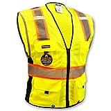 KwikSafety (Charlotte, NC) BIG KAHUNA Class 2 ANSI Safety Vest OSHA High Visibility Reflective Stripes Heavy Duty Mesh Pockets and Zipper Hi-Vis Construction Work Hi-Viz Surveyor Mens Yellow L/XL