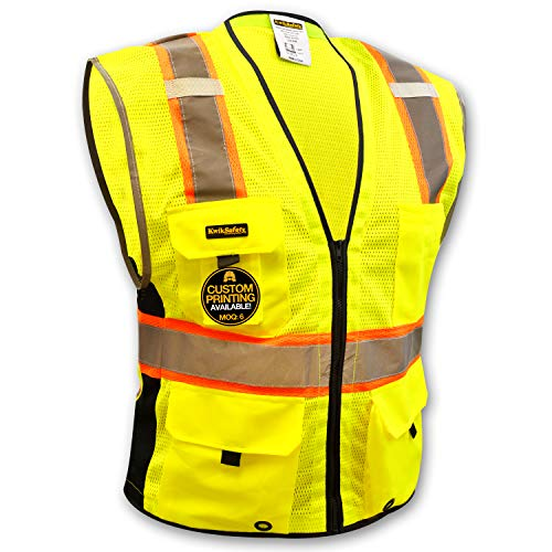 KwikSafety EXTENDED SIZING | BIG KAHUNA Class 2 Safety Vest | 360° High Visibility Reflectivity ANSI Compliant Work Wear | Hi Vis 8 Pocket Breathable Mesh Men & Women | Yellow 4XL/5XL