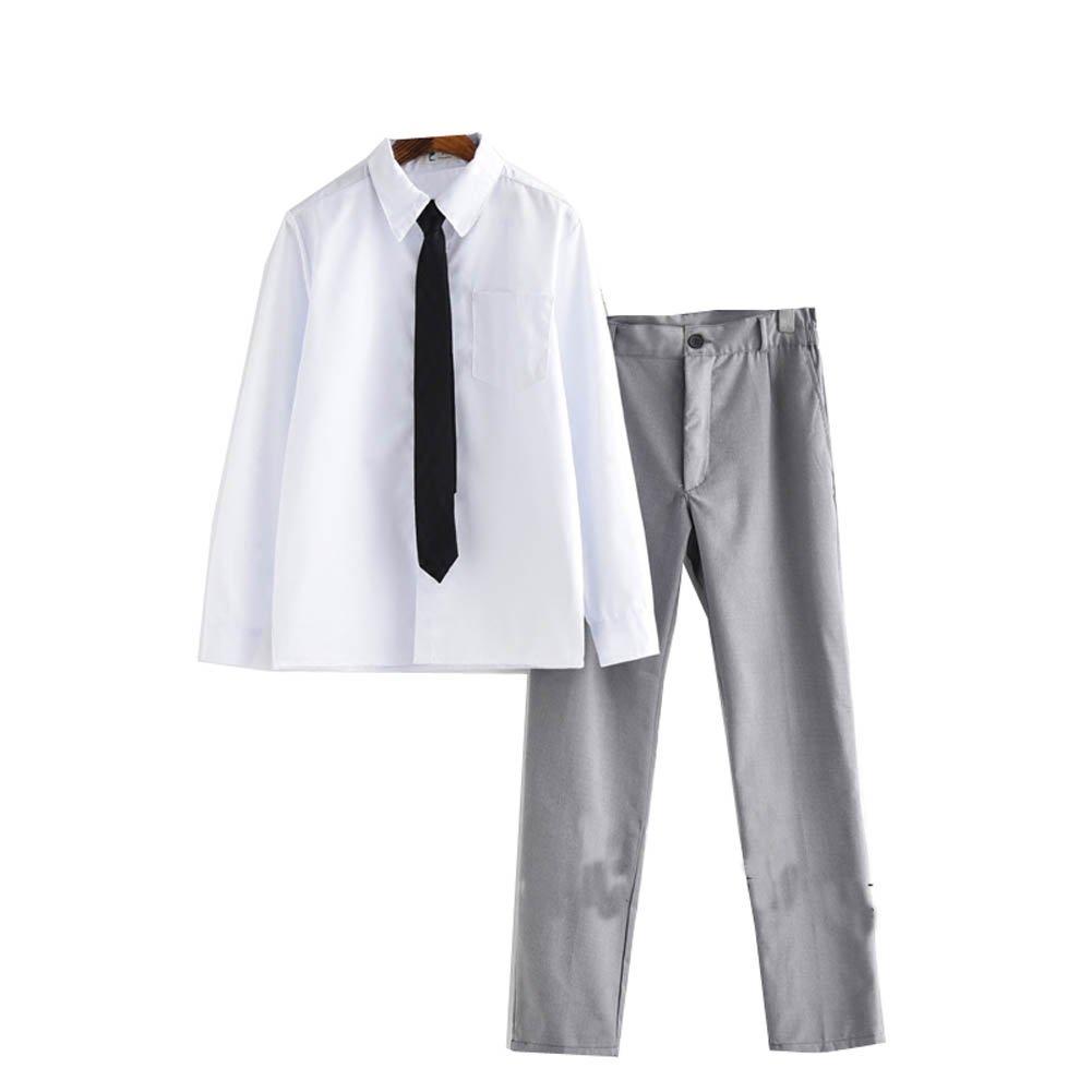 Dream-Store College Men's High School Boys School Uniform Long-Sleeve Button-Down Shirt and Pants (Asian XXL, White Grey)
