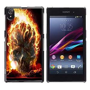 - Skull Devil Diablo Extraterrestrial - - Hard Plastic Protective Aluminum Back Case Skin Cover FOR Sony Xperia Z1 L39 Queen Pattern