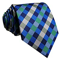 Shlax&Wing Ties Necktie Checkered Blue Green Handmade Wedding Brand New Long