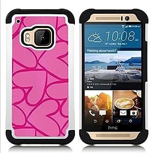 """HTC One M9 /M9s / One Hima - 3 en 1 impreso colorido de Altas Prestaciones PC Funda chaqueta Negro cubierta gel silicona suave (Corazones rosados ??púrpuras del amor de San Valentín"""")"""