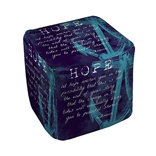Thumbprintz Let Hope Anchor You Pouf Medium 18 x 18 by Thumbprintz