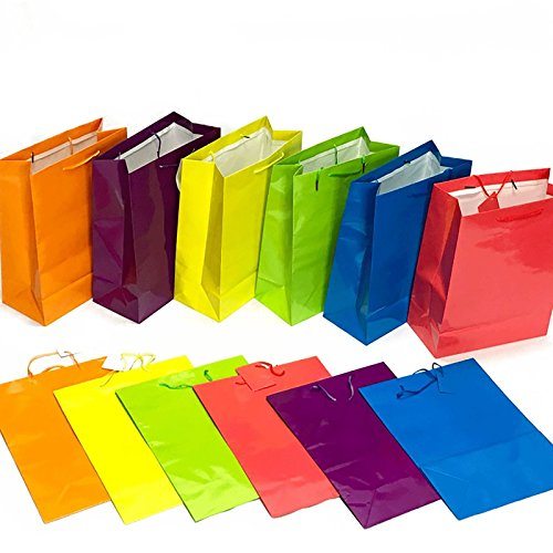 Adorox 24 Assorted Gift Bags Large Bright Neon Colored Party Present Paper Gift Bags Birthday Wedding All Occasion (24 Pcs. (14.5x11.5x5.5))
