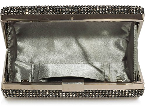 Chain 1 Hardcase Wedding Sparkly Evening Party For Look Clutch Box Bag With Handbag Design Diamante Grey Designer xqZOAXw