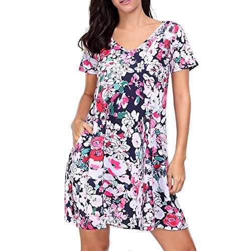 Eiffel Women's Floral Print Short Sleeve A-line Tunic T Shirt Dress With Pocket, Multicolor-1, M