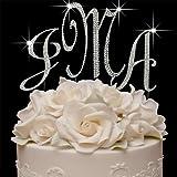 Fully Covered Swarovski Crystal Monogram Cake Topper - 3 Piece Set