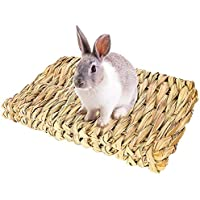 Solider Hay Grass Mat,Natural Woven Grass Hay Mat Rabbit Mat Reed Straw Mat Small Animal Chew Toy for Hamster…