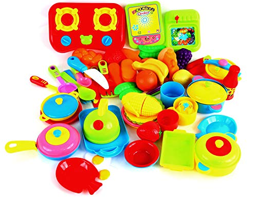 - Fstop Labs 60 Packs Play Cookware Set, Kitchen Toys Set for Kids, Pretend Play Cooking Toys Set, Kids Tableware Dishes Playset for Kids Age 3 Years and Up Random Styles