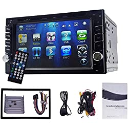 """Yody Double Din Car DVD Player 6.2"""" Touch Screen Bluetooth GPS Navigation DVD/CD/MP3/USB/SD/AUX in AM/FM RDS Radio in Dash Car Stereo with Backup Camera Remote Control"""