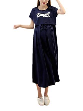 BESTHOO Still-Kleid Damen Lange Details Knopfleiste Umstandskleid ...