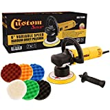 Custom Shop Heavy Duty 6'' Variable Speed Random Orbital Polisher with 6-Waffle Pad Set
