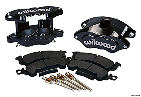 NEW WILWOOD BLACK D52 BIG GM BRAKE CALIPERS & PADS, FRONT, 2 PISTONS, FOR 1.28