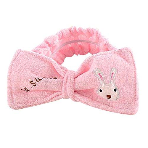 EYX Formula Rabbit Bowknot Fibre Hair Wrap Shower Wash face Bath Spa Make-up Headband (Boas Wrap Arounds)