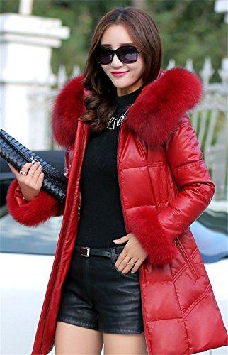 Generic Real_hair_fox_ fur collar down jacket Women winter new Korean long _section_real_ fur collar leather jacket woman