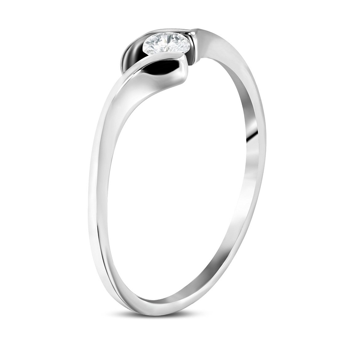 Stainless Steel Tension-Set Love Heart Bypass Ring with Clear CZ