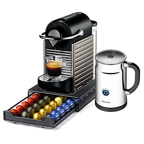 Nespresso Pixie C60 Electric Titan Espresso Machine with Bonus Aeroccino Plus and Bonus 40 Capsule Storage Drawer
