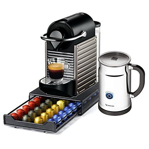 Nespresso Pixie C60 Electric Titan Espresso Machine with Bonus Aeroccino Plus and Bonus 40 Capsule Storage Drawer