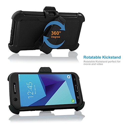 For Samsung Galaxy J7/Sky Pro/J7 Prime/J7V/J727/Perx/Halo Full Body Rugged Holster Explorer Armor Case with Built in Screen Protector (Black) by customerfirst (Image #2)