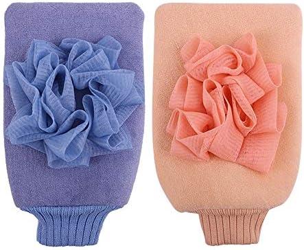 手袋 日常 実用 男女兼用の入浴手袋両面粗い砂の強力な角質除去入浴手袋 (Color : Pink+blue)